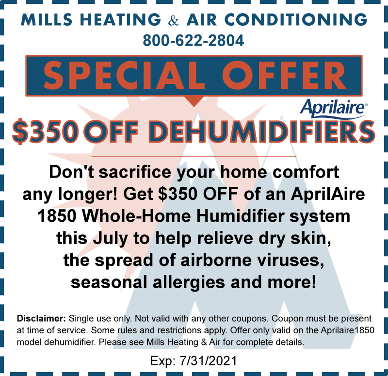july 2021 dehumidifier special discount coupon offer